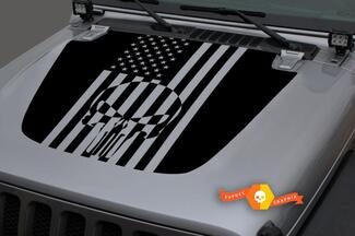 Jeep Hood Vinyl Punisher USA Flag Blackout Decal Sticker for 18-19 Jeep Wrangler JL#2