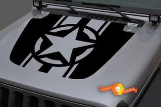 Jeep Hood Vinyl Military Star Blackout Decal Sticker for 18-19 Wrangler JL#2