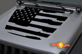 Jeep Hood Vinyl USA Flagge Blackout Aufkleber Aufkleber für 18-19 Wrangler JL # 1