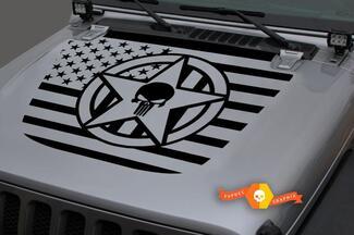 Jeep Hood Vinyl USA Flagge Militär Star Punisher Blackout Aufkleber Aufkleber für 18-19 Wrangler JL # 3