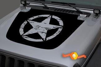 Jeep Hood Vinyl ARMY Star Distressed Blackout Decal Sticker for 18-19 Wrangler JL#3