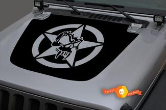 Jeep Hood Vinyl Military Star Skull Blackout Decal Sticker for 18-19 Wrangler JL#4