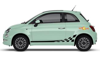 Fiat 500 Abarth geruite vlag Decal Side Graphics Stripes