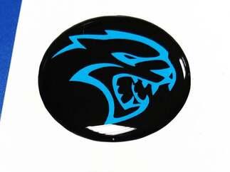 Start Motor Taste Start Stop Hellcat Logo Blaues Emblem Kuppel Aufkleber Challenger Charger Dodge