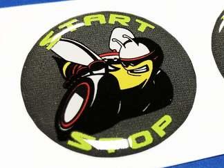 Start Motor Taste Start Stop Scat Pack Logo Grau Kalk Emblem Kuppel Aufkleber Challenger Charger Dodge Scatpack
