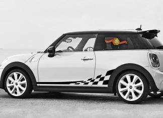 Mini Cooper F56 2014-2015 checkered flag side stripes graphics decals