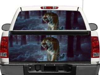 Tiger in moon forest Rear Window OR tailgate Decal Sticker Pick-up Truck SUV Car