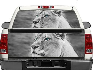 BW Lion Black and White Rear Window OR tailgate Decal Sticker Pick-up Truck SUV Car