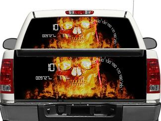 Speed Flame Skull Racing Rear Window OR tailgate Decal Sticker Pick-up Truck SUV Car