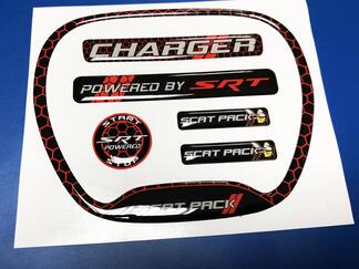 Set of CHARGER HONEYCOMB Powered by SRT Steering WHEEL TRIM RING emblem domed decal