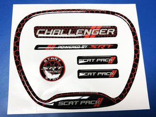 Set of Challenger SRT Scat Pack Honeycomb Red Steering WHEEL TRIM RING emblem domed decal Charger Dodge Scatpack