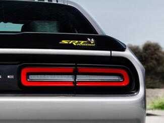 Scat Pack Challenger or Charger SRT Powered badge emblem domed decal Dodge Yellow color Grey Background with Black shadows
