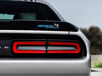 Scat Pack Challenger or Charger SRT Powered badge emblem domed decal Dodge Blue color Grey Background with Black shadows