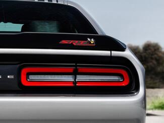 Scat Pack Challenger or Charger SRT Powered badge emblem domed decal Dodge Reed color Grey Background with Black shadows