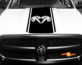 Dodge Ram 1500 Vinyl Decal HOOD Ram Head Racing HEMI Stripe Stickers #33