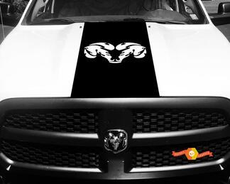 Dodge Ram 1500 Vinyl Aufkleber HOOD Ram Head Racing HEMI Streifenaufkleber # 34