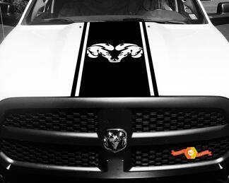 Dodge Ram 1500 Vinyl Aufkleber HOOD Ram Head Racing HEMI Streifenaufkleber # 35