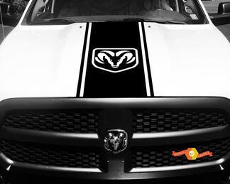 Dodge Ram 1500 Vinyl Aufkleber HOOD Ram Head Racing HEMI Streifenaufkleber # 47