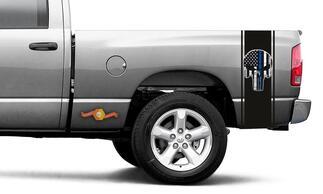 Punisher bedruckter Aufkleber Vinyl Racing Stripe Blaue Flagge Ram Truck Sticker # 55