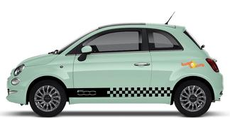Fiat 500 Vinyl Racing Checkered Flag Stripe Decal Sticker 52