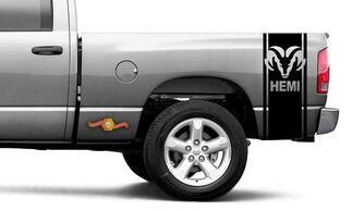 Dodge Ram Vinyl Racing Bett Seitenstreifen RAM Kopf Aufkleber Aufkleber # 60