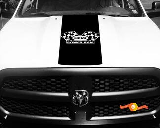 Dodge Ram Decal Vinyl Checkered Flag Hemi Power Ram Hood Racing Stripe Sticker #61