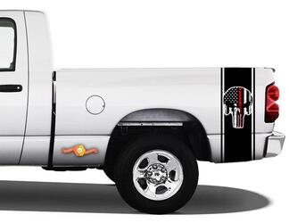 Punisher Printed Vinyl Decal Stripe Sticker Red Flag Ram Truck Racing #96