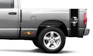 Punisher gedruckt Aufkleber schwarze Flagge Ram Truck Vinyl Racing Streifen Aufkleber # 103