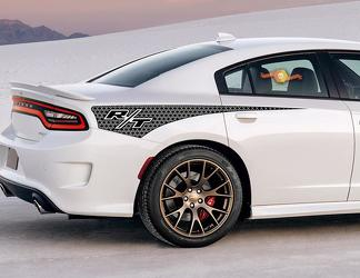 2X Dodge Charger R/T Honeycomb Rear Quarter Side Stripe Decal 2011-2020