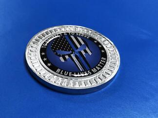 3D Abzeichen Punisher Blue Line Metall Aluminium Bett Seiten Emblem für Jeep Wrangler JL JK YJ TJ