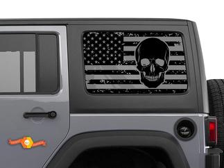Jeep Wrangler Rubicon Hardtop USA Flag Skull Windshield Decal JKU JLU 2007-2019 or Tacoma 4Runner Tundra Subaru Charger Challenger - 19