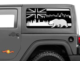 Jeep Wrangler Rubicon Hardtop Hawaii Flag Bear Forest Windshield Decal JKU JLU 2007-2019 or Tacoma 4Runner Tundra Subaru Charger Challenger - 22