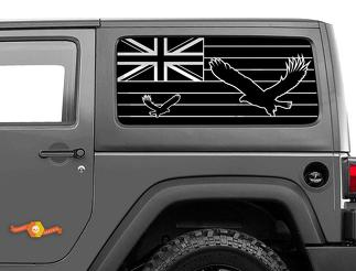 Jeep Wrangler Rubicon Hardtop Hawaii Flag Eagle Windshield Decal JKU JLU 2007-2019 or Tacoma 4Runner Tundra Subaru Charger Challenger - 24