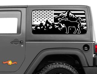 Jeep Wrangler Rubicon Hardtop USA Flag Moose Mountains Windshield Decal JKU JLU 2007-2019 or Tacoma 4Runner Tundra Subaru Charger Challenger - 25