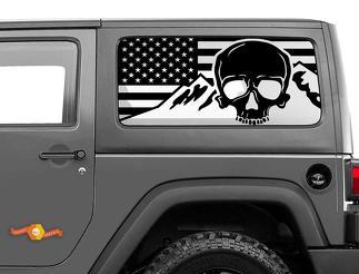 Jeep Wrangler Rubicon Hardtop USA Flag Skull Mountains Windshield Decal JKU JLU 2007-2019 or Tacoma 4Runner Tundra Subaru Charger Challenger - 26