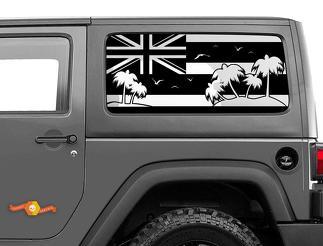 Jeep Wrangler Rubicon Hardtop Hawaii Flag Palm Trees Windshield Decal JKU JLU 2007-2019 or Tacoma 4Runner Tundra Subaru Charger Challenger - 29