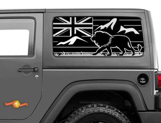 Jeep Wrangler Rubicon Hardtop Hawaii Flag Lion Mountains Windshield Decal JKU JLU 2007-2019 or Tacoma 4Runner Tundra Subaru Charger Challenger - 30