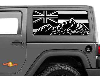 Jeep Wrangler Rubicon Hardtop Flagge Hawaii Mountains Windschutzscheibenaufkleber JKU JLU 2007-2019 oder Tacoma 4Runner Tundra Subaru Ladegerät Challenger - 45