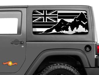 Jeep Wrangler Rubicon Hardtop Flag Hawaii Mountains Windshield Decal JKU JLU 2007-2019 or Tacoma 4Runner Tundra Subaru Charger Challenger - 46