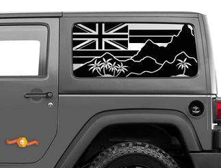 Jeep Wrangler Rubicon Hardtop Flag Hawaii Mountains Windshield Decal JKU JLU 2007-2019 or Tacoma 4Runner Tundra Subaru Charger Challenger - 47