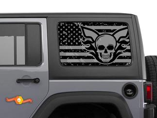 Jeep Wrangler Rubicon Hardtop USA Flag Skull Destroyed Windshield Decal JKU JLU 2007-2019 or Tacoma 4Runner Tundra Subaru Charger Challenger - 51