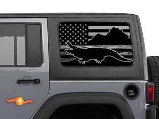 Jeep Wrangler Rubicon Hardtop USA Flag Mountains Crocodile Alligator Windshield Decal JKU JLU 2007-2019 or Tacoma 4Runner Tundra Subaru Charger Challenger - 55
