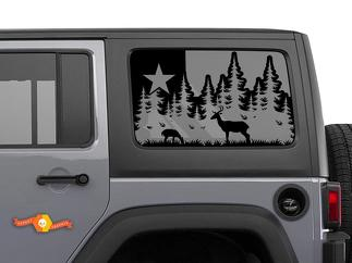 Jeep Wrangler Rubicon Hardtop Texas Flag Forest Mountains Windshield Decal JKU JLU 2007-2019 or Tacoma 4Runner Tundra Subaru Charger Challenger - 60