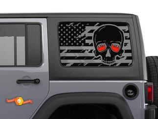 Jeep Wrangler Rubicon Hardtop USA Flag Skull Windshield Decal JKU JLU 2007-2019 or Tacoma 4Runner Tundra Subaru Charger Challenger - 72