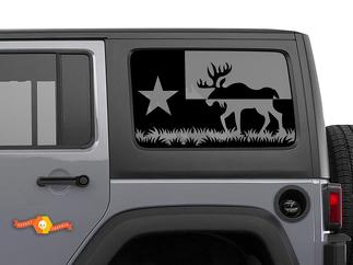 Jeep Wrangler Rubicon Hardtop Texas Flag Moose Forest Mountains Bison Windshield Decal JKU JLU 2007-2019 or Tacoma 4Runner Tundra Subaru Charger Challenger - 75