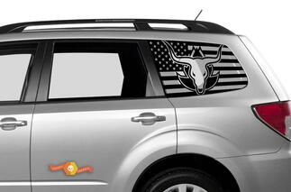 Subaru Ascent Forester Hardtop USA Flag Windshield Decal JKU JLU 2007-2019 or Tacoma 4Runner Tundra Dodge Challenger Charger Wrangler Rubicon - 93