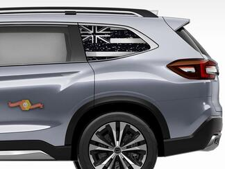 Subaru Ascent Forester Hardtop USA Flag Destroyed Flag Hawaii Windshield Decal JKU JLU 2007-2019 or Tacoma 4Runner Tundra Dodge Challenger Charger Wrangler Rubicon - 100