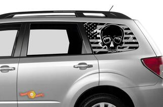 Subaru Ascent Forester Hardtop USA Flag Mountains Skull Destroyed Windshield Decal JKU JLU 2007-2019 or Tacoma 4Runner Tundra Dodge Challenger Charger Wrangler Rubicon - 108