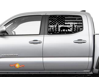 Toyota Tacoma 4Runner Tundra Hardtop USA Flag Forest Bear Windshield Decal JKU JLU 2007-2019 or  Dodge Challenger Charger Subaru Ascent Forester Wrangler Rubicon - 113