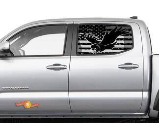 Toyota Tacoma 4Runner Tundra Hardtop USA Flag Forest Eagle Windshield Decal JKU JLU 2007-2019 or  Dodge Challenger Charger Subaru Ascent Forester Wrangler Rubicon - 114
